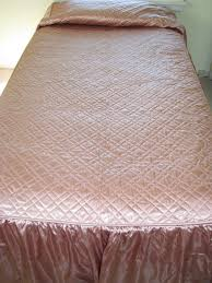 RESERVED for MARIAN Vintage Salmon Pink Quilted SATIN Bedspread ... & RESERVED for MARIAN Vintage Salmon Pink Quilted SATIN Bedspread coverlet Adamdwight.com