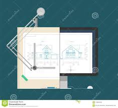 Illustration Board House Design Drawing The House On The Drawing Board And On The Monitor