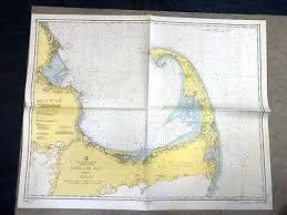 Vintage 1950s Nautical Chart Mass Cape Cod Bay Sailing Noaa