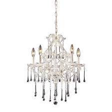 elk lighting 4002 5cl once 5 light chandelier in antique white and clear crystal