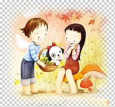 couple cartoon puppy love drawing ilration cute cartoon png clipart