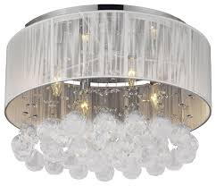 flush mount with 4 light chrome and white shades crystal chandelier