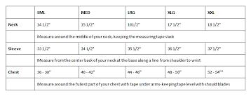 Acorn Shirts Size Charts Acorn Shirts By Robert Goldfeder