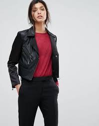 sisley faux leather biker jacket with zip details women black jackets