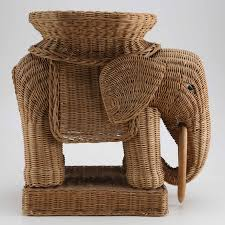 Wicker Elephant Accent Table ...