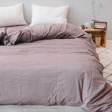 one pieces 100 cotton yarn weave washed cotton duvet cover cameo coffee solid color japanese