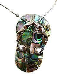 hawaiian large flip flop slipper slippah abalone shell necklace 16 com