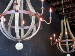 image of outdoor wine barrel chandelier