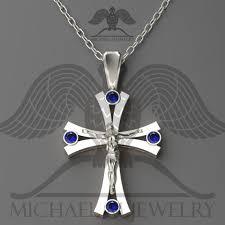 michael m jewelry 925 sterling silver cross crucifix pendant blue stones