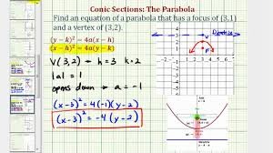 ex 2 find the equation of a parabola given the focus and vertex negative a