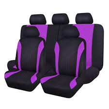 universal car seat covers set for girls black purple breathable auto protectors