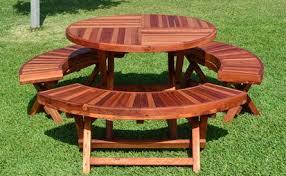 round wood folding picnic table