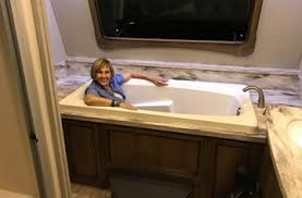 travel trailers with large bathrooms. Staff Member Gail Gives The Tub A Dry Run. Travel Trailers With Large Bathrooms C