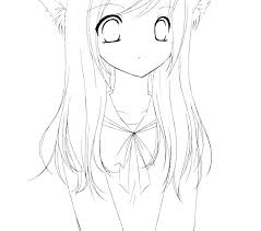 Anime Cat Girl Coloring Pages Cat Girl Anime Cat Girl Colouring