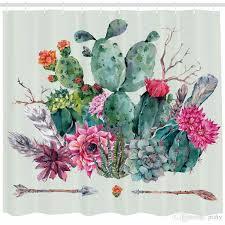 2021 cactus decor shower curtain
