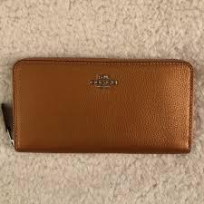 new coach metallic pebbled leather accordion zip wallet f31263 tangerine 250