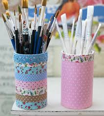 Fabric Tape Covered Pen Holders