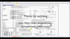 How To Design Lifting Lugs Lifting Lug Design Xls Mes No Audio