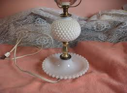 up for is a beautiful vintage 1960 s hobnail milk white table lamp 12 tall no globe 20 25 tall with globe with combination clear and frosted