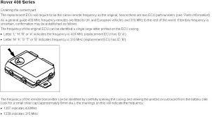 security ecu programming rover 400 series