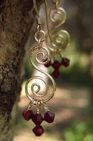 silver or gold ruby beaded crystal chandelier earrings