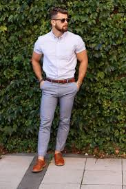 Light Grey Trousers Brown Shoes Mens Light Violet Vertical Striped Short Sleeve Shirt Grey