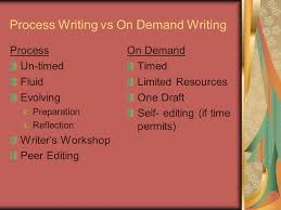 attacking the prompt the first step to writing a successful on  2 process writing vs on demand writing process un timed fluid evolving preparation reflection writer s workshop peer editing on demand timed limited