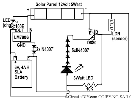 solar to 6v batt to led emergency light circuit circuits diy in