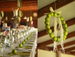 Creative Idea:Table Decoration With Green Apples Decor And Green Hanging  Apples Wreath Decor Table