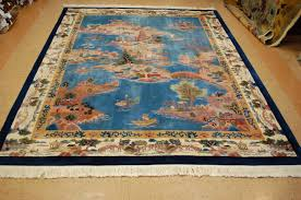9 x 12 hand knotted circa 1960 s vintage wool chinese art deco village life scenery rug tapestry wall hanging 12980553 goodluck rugs