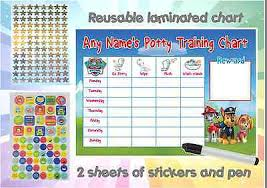 A4 Personalised Potty Training Reward Chart Paw Patrol
