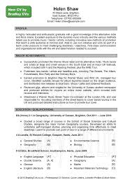 Sample Cv Starter Profile Education Recentresumes Com