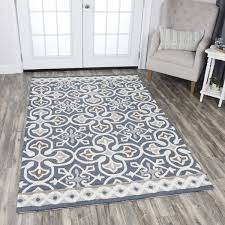rizzy home blue grey wool hand tufted medallion area rug 8 x27