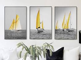 nordic poster sea yellow boat wall art painting posters prints canvas art wall pictures for living on boat wall art with nordic poster sea yellow boat wall art painting posters prints