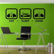 <b>Eat Sleep Game Wall</b> Decal Gaming Joystick Playing Sticker Wall ...