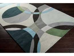 surya forum square dark green ivory black area rug
