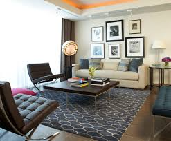 captivating living room with curtains furnished with dark brown tufted loveseat in armless design also square