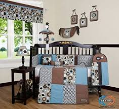 Amazon GEENNY Boutique 13 Piece Crib Bedding Set Blue Brown