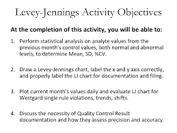 Trend And Shift Of Data In Levey Jennings Chart Ppt Module 6 Lab Exercise I Quality Control And
