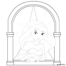 line drawing pics 1 500x500 window coloring page window coloring page princess in the castle
