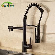 contemporary oil rubbed bronze kitchen sink faucet single lever pull down spout