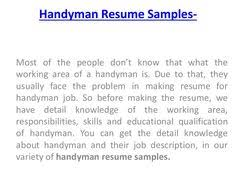 images about sample resume   on pinterest   resume    how to   handyman resume samples for handyman job