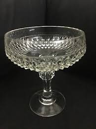 indiana glass diamond point clear candy dish compote pedestal no lid 2 avail