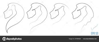 львиная голова одной линии стиль минимализм эскиз логотип эмблема