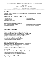 Resume Examples For Medical Billing Specialist