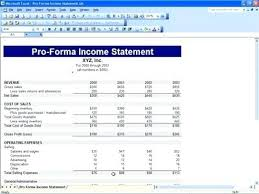 excel income statement pro forma financial statements excel template proforma income