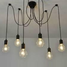 6 light edison spider multi light pendant in black industrial style lights for restaurant living room