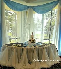 cake table decoration with an elegant table cinderella skirt accented