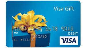 visa prepaid gift card with image of wrapped present