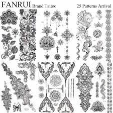 Pandents Jewel черный временные татуировки хной мандала цветок рука